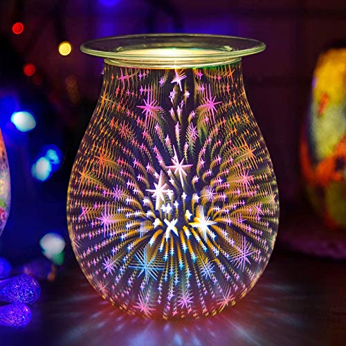 YWEN Glass Electric Oil Burner Wax Melt Burner 3D Starry Night Aroma Lamp Wax Warmers, for Wedding Bedroom Living Room Decor Spa Aromatherapy (Not include Wax)