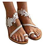 Women's Summer Sandals Bohemian Beaded Ankle Walking Strap Size Casual Flip Flops Ladies Beach Sexy Flats Comfortable Shoes
