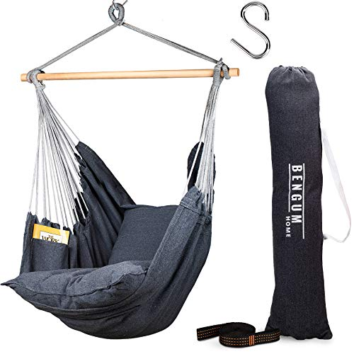 Bengum Hammock Chair Hanging Swing | Indoor and Outdoor Use | Large Swinging Seat Chair for Patio, Bedroom, or Tree | 2-Tone Grey Durable Hammock + 2 Cushions + Side Pocket + Rope + Carrying Bag + S