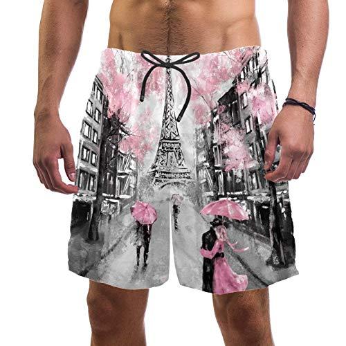 LORVIES Men's Paris Eiffeltoren Paar Paraplu Op straat Olieverfschilderij Beach Board Shorts Snelle Droge Swim Trunk,L