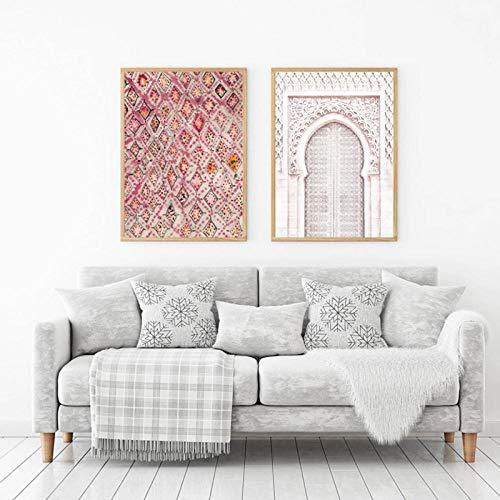 Terilizi Vintage Roze tapijt kunstdruk Boho muurdecoratie Eklectische poster, oude poort Marokko deur kunst canvas schilderwerk kunstwerk schilderij-40X60Cmx2 geen lijst