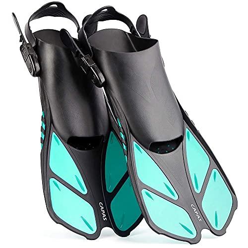 Aletas de esnórquel de CAPAS, tamaño corto ajustable para buceo, adultos, hombres, mujeres, niños, aletas de natación de tacón abierto