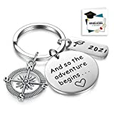 CERSLIMO Graduation Gifts 2021 And So The Adventure Begins Keychain for Graduates Students Nurses from College High School Inspirational Gifts for Women Men