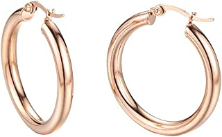 Caprice Jewelry - Rose Gold Tone 4mm High Polished Small Round Hoop Earrings