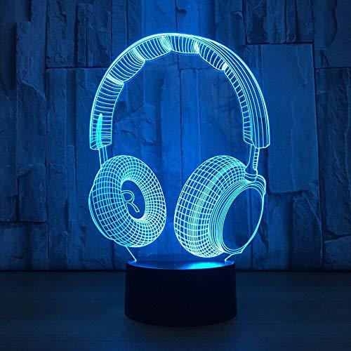 LPHMMD Nachtlampje 3D LED Nachtlampje Muziek Headset met 7 Kleur Verandering voor Home Decoratie Verbazingwekkende Visualisatie Optische n Lamp