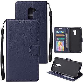 Xiaomi Pocophone F1 シェル, Happon Xiaomi Pocophone F1 レザー 財布 シェル 本 設計 ?と フリップ カバー 且つ 立つ [クレジット カード スロット] カバー シェル の Xiaomi Pocophone F1-Dark Blue