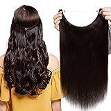 Extensions Echthaar mit Unsichtbarer Draht Dunkelbraun - Haarverlängerungen Haarteile Glatt Haarverdichtung Keine Clip 22'-75g