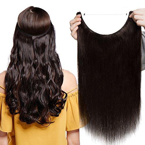 Extensions Echthaar mit Unsichtbarer Draht Dunkelbraun - Haarverlängerungen Haarteile Glatt Haarverdichtung Keine Clip 22