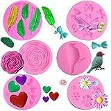 Stampi per Fondente per Torta di Fiori, 6PCS Stampi in Silicone Fondente Torta, Muffa del Fiore delle Rose Stampi del Fiore della Margherita, Per gelatina di zucchero Caramelle Decorazione