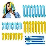 32 piezas de rizadores de pelo en espiral mágicos juego de herramientas para peinar el cabello sin calor flexibles con ganchos de peinado para mujeres y niñas