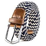 Weifert Men's Stretch Woven 1.3'Wide Elastic Braided Belts (30-32, Khaki+Blue)