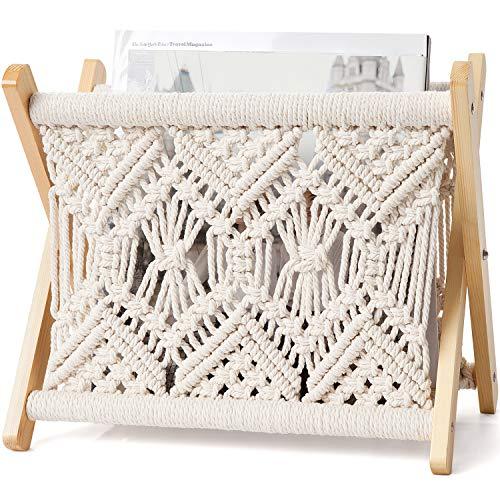 Mkono Macrame Magazine Rack Small Boho Magazine Holder Storage Basket Standing Rack for Books, Newspapers, Notebook, Swaddle Blanket, Living Room, Bathroom, Office, Nursery, Rustic Boho Home Decor