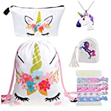 DRESHOW 5 Pack Cute Unicorn Drawstring Backpack/Make Up Bag/PU Coin Purse Clutch Bags/Alloy Chain Necklace/Unicorn Hair Ties