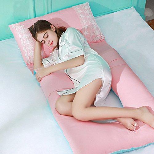 Oreiller Enceinte Grossesse Oreiller En Forme De U Full Body Maternité Oreiller De Cale 100% Coton Couverture Coussin D'allaitement,Pink-160 * 75 * 15cm