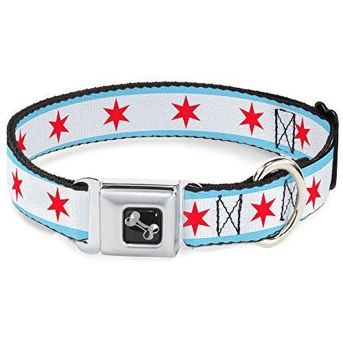 Buckle Down 16–23'Chicago Bandera Collar de Perro Hueso, Gran Tamaño Mediano