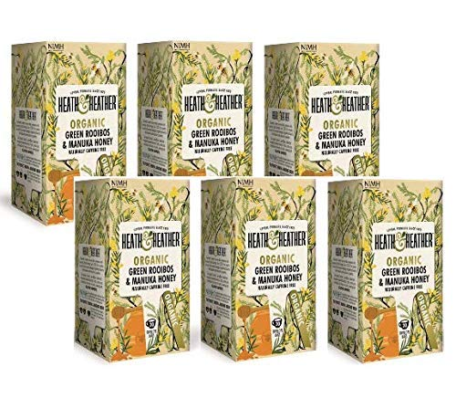 Heath & Heather Organic Manuka con sabor a manzanilla, miel natural, sin cafeína, 6 x 20 bolsas de té (180 gramos)
