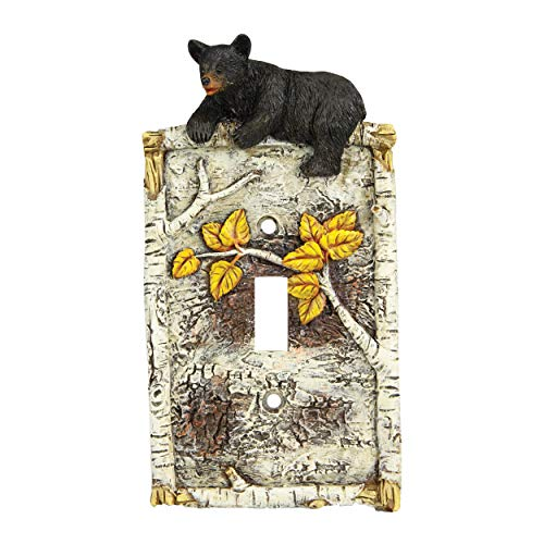 River's Edge Products Bears and Birch Trees Single Switch Plate Cover, Fits 1 Standard Light Switches, Screws Included