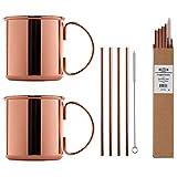Juego Tazas de Cobre para Moscow Mule con Pajas de Cobre - El juego cobre contiene: 2x Taza de cobre / 4 x Pajita de cobre + 1 x Cepillo de limpieza y recetas cócteles!
