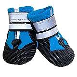 Overhil1s Zapatos Perro, Zapatos for mascotas for perros grandes Botas reflectantes calientes Nolla de resistencia resistente al desgaste Zapatos al aire libre (Color : Blue, Size : M)