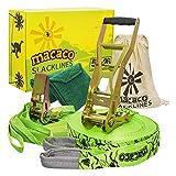 Macaco - Kit Slackline unisex lungo con linea di allenamento, 26 m, colore: Verde
