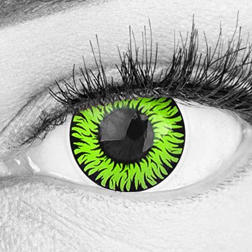 Farbige Grüne Kontaktlinsen Anime Werewolf Green Circle Lenses Ohne Stärke Heroes Of Cosplay Stark Deckend Intensive Farben mit gratis Linsenbehälter farbig für Halloween Fasching