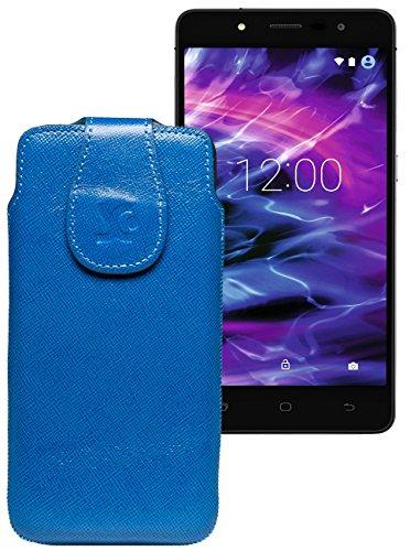 Original Suncase Tasche für MEDION® LIFE® E5005 (MD 99915) | Leder Etui Handytasche Ledertasche Schutzhülle Hülle Hülle / in vollnarbig-blau
