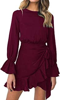 Womens Long Sleeve Round Neck Ruffles Wrap Dresses Party Dress