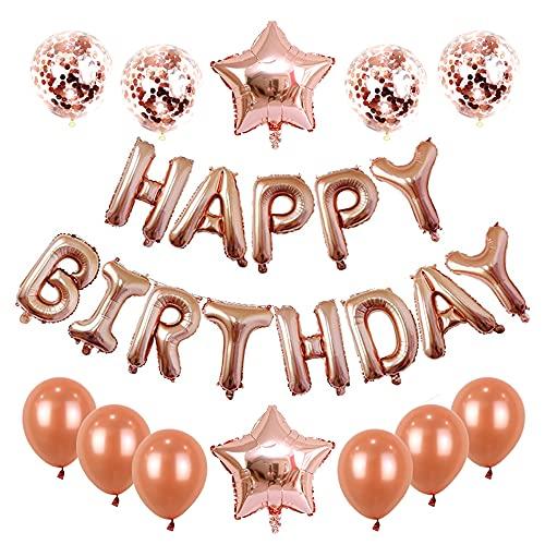Aloces Decoración de cumpleaños de color oro rosa, juego de globos con confeti, globos con letras, globos de cumpleaños, festivales, decoración, guirnalda, globos, etc.