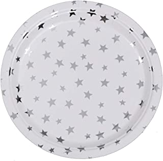 Ottin White and Silver Stars Paper Plates 9'' 48 Counts Disposable Party Plates for Party Sets Wedding Birthday Bridal Shower Engagement Weekend Party Celebration (White with Silver Foil Stars, 9'')