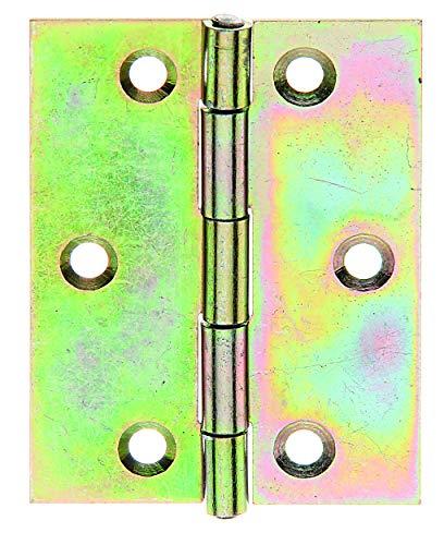 GAH-Alberts 345907 Scharnier | halbbreit | galvanisch gelb verzinkt | 70 x 53 mm | 20er Set
