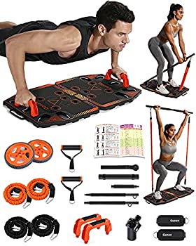 Gonex Portable Home Gym Workout Equipment with 14 Exercise Accessories Ab Roller Wheel,Elastic Resistance Bands,Push-up Stand,Post Landmine Sleeve and More for Full Body Workouts System Orange