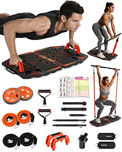 Gonex Portable Home Gym Workout Equipment with 14 Exercise Accessories Ab Roller Wheel,Elastic...