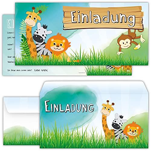 Set: 12 große Einladungskarten Tiere mit 12 Umschlägen zum Kindergeburtstag - auch für einen Ausflug in den Zoo prima geeignet | Safari Dschungel Kinder-Einladung Geburtstag-Einladungen