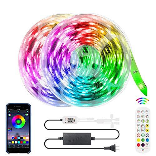 YIZHIYA Tiras LED,Luces de Tira LED Inteligentes Bluetooth RGB 5050,IP20,con Control Remoto de 24 Teclas,Admite Cambio de Color de sincronización de música,para la decoración de la Fiesta,16M