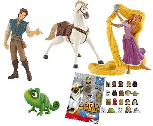 LOTE 4 FIGURAS Bullyland Rapunzel - Rapunzel - Flynn Rider - Pascal - Maximus + REGALO