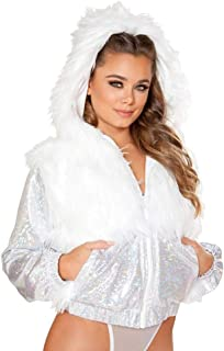 M Mayever M Women Rave Faux Fur LED Jacket with Hoodies Xmas Light Up Coat Stage Outwear Fancy Dress LED012