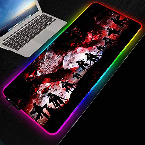 Mouse Pads Attack On Titan Anime Large Gaming Mouse Pad RGB LED Light Office Computer Keyboard High Speed Mouse Mat,27.6×11.8 Inches