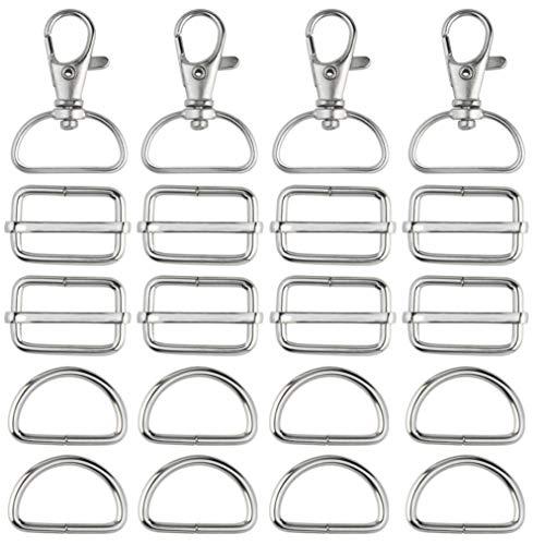 baotongle 80 Stück Drehgelenk Karabinerhaken Metall D-Ring Gurtversteller Set DIY Handwerk Rucksackschnalle Spannschnallen für Gurt, Rucksack, Bastelzubehör