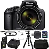 Nikon COOLPIX P900 Digital Camera: with 83x Optical Zoom and Built-in Wi-Fi (Black) + 64GB 1200X SDXC Card + 2 EN-EL23 Batteries + Case + Flexible Tripod + Pro Bundle: International Version