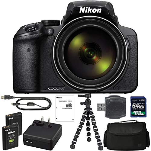 Nikon COOLPIX P900 Digital Camera: with 83x Optical Zoom and Built-in Wi-Fi(Black) + 64GB 1200X SDXC Card + 2 EN-EL23 Batteries + Case + Flexible Tripod + Pro Bundle: International Version