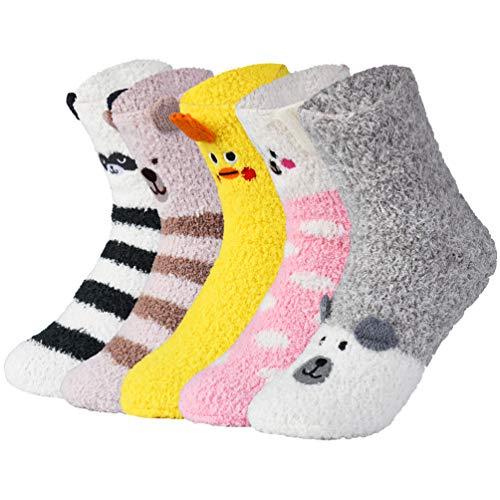 VBIGER Damen Kuschelsocken Warme Wintersocken Cute Cartoon Muster Hausschuhsocken Anti Rutsch Noppen Socken, 5 Paar