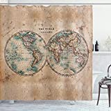 Ambesonne World Map Shower Curtain, World in Hemispheres Vintage Old Map Design Geography Historyme, Cloth Fabric Bathroom Decor Set with Hooks, 70' Long, Brown Cream
