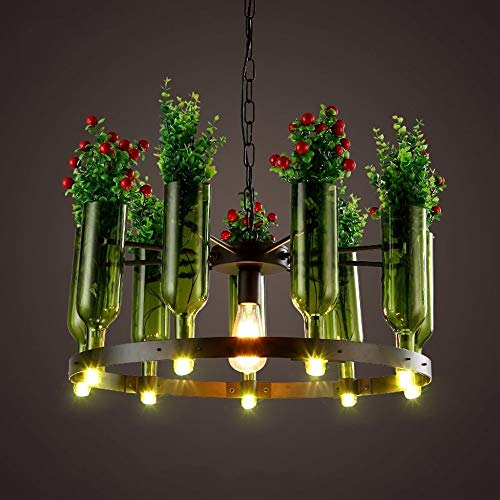 zdw Éclairage Chandelier Flower Shop Caf Eacute; Lustre de bouteille en verre de restaurant botanique, taille: 65 * 100 cm A ++