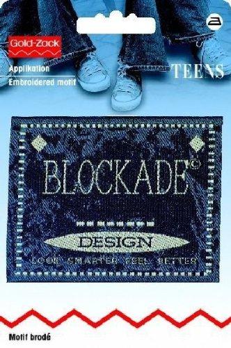 Motif bleu rectangulaire jeanslabel fixation