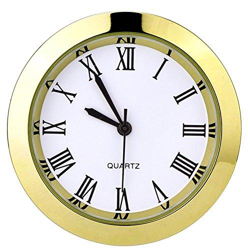 Hicarer Inserto de Reloj de Cuarzo Redondo 1-1/2 Pulgadas (37 mm) con Números Romanos para Agujero de Diámetro de 35 mm (Bisel Dorado)