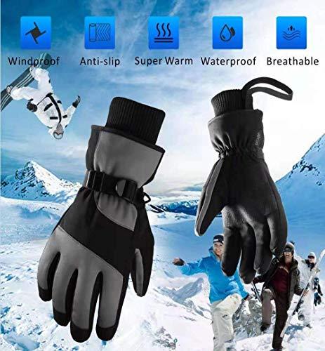 Skihandschoenen, verstelbare manchetten fluweel materiaal antislip PU180G fluwelen stickers 3 MM spons, houd je handen warm,Gray,M