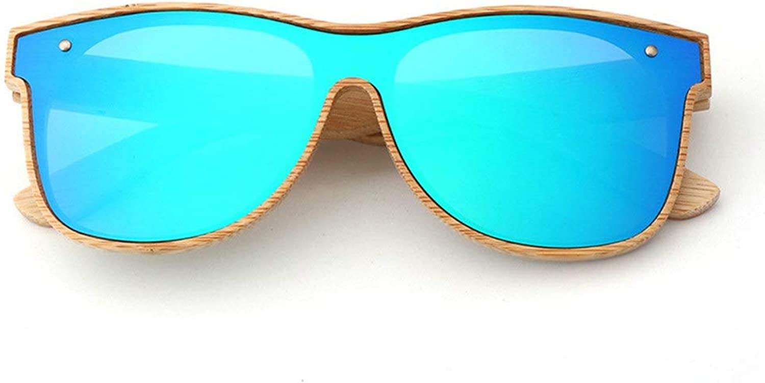 Bamboo Wood Sunglasses Europe and The United States one Lens Glasses colorful Plane Polarized Sunglasses UV Predection