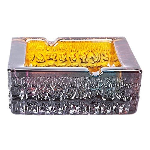 Taorong Kleurrijke glazen bak, plaats sigaret, asbak, asbak, grote tafel, asbak voor rokers buitenshuis, 5,5 x 5,5 x 2 inch