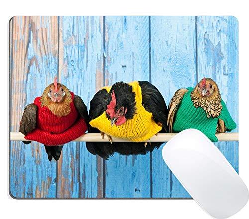 Rijkippen met kleurrijke truien in blauw Henhouse op Stick Mouse Pad