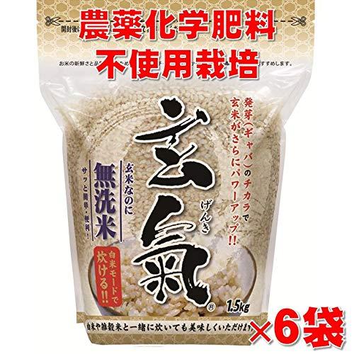 無農薬 発芽玄米 玄氣(げんき)1.5�s(真空パック)×6袋